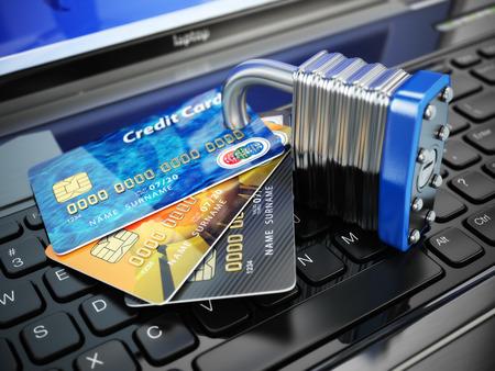 Photo pour Internet security concept. Credit cards and lock on laptop keyboard. 3d - image libre de droit