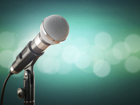 Photo pour Microphone on the green abstract background. 3d - image libre de droit