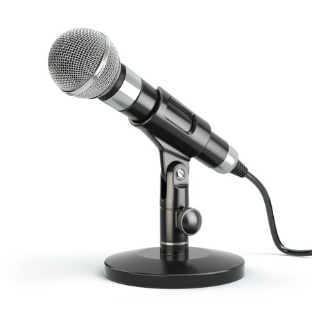 Photo for Microphone isolated on white. Caraoke or news concept. 3d - Royalty Free Image