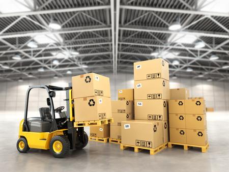 Photo pour Forklift truck in warehouse or storage loading cardboard boxes. 3d - image libre de droit