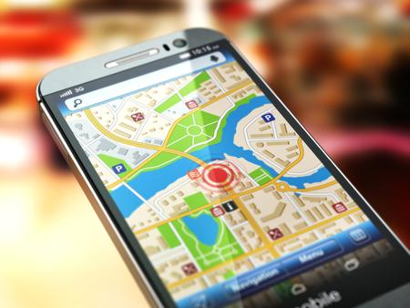 Photo pour Mobile GPS navigation concept. Smartphone with city map on the screen. 3d - image libre de droit