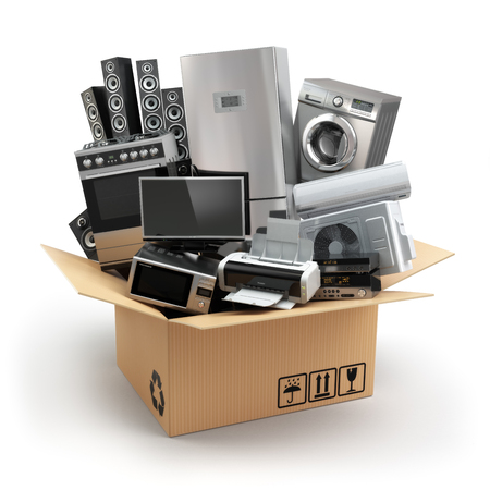 Foto de Delivery or moving concept. Home appliance in box. Fridge, washing machine, tv printer, microvawe oven, air conditioneer and loudspeakers. 3d - Imagen libre de derechos