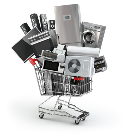 Foto de Home appliances in the shopping cart. E-commerce or online shopping concept. 3d - Imagen libre de derechos