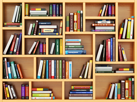Photo pour Education concept. Books and textbooks on the bookshelf. 3d - image libre de droit