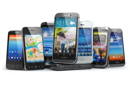 Photo pour Choose mobile phone. Row of the different smartphones. 3d - image libre de droit