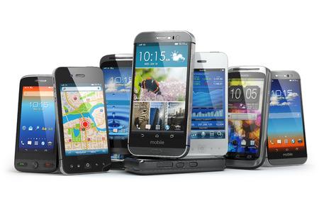 Foto de Choose mobile phone. Row of the different smartphones. 3d - Imagen libre de derechos