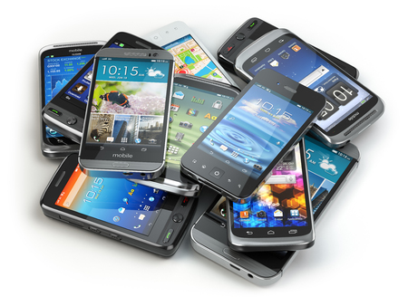 Photo pour Choose mobile phone. Heap of the different smartphones. 3d - image libre de droit