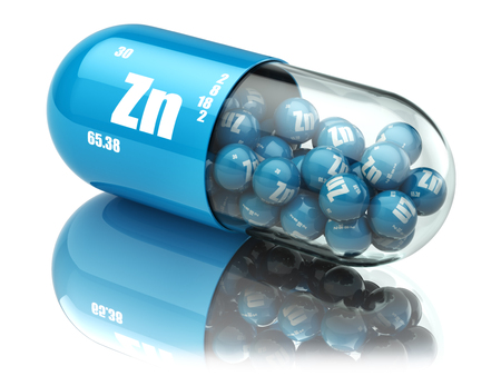Photo pour Pills with zinc Zn element Dietary supplements. Vitamin capsules. 3d - image libre de droit