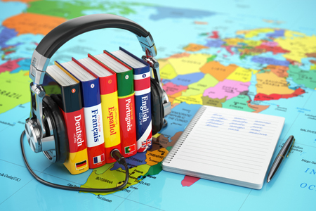 Photo for Learning languages online. Audiobooks concept. Books and headphones on the map world. 3d - Royalty Free Image