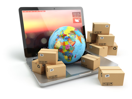 Photo pour Shipping, delivery and logistic concept. Earth and cardboard boxes on laptop keyboard. Online technology. 3d - image libre de droit