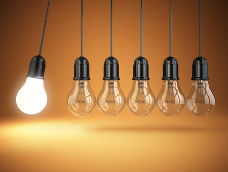 Foto de Idea o creativity concept. Light bulbs and perpetual motion. 3d - Imagen libre de derechos
