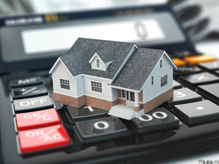 Photo pour Mortgage calculator. House on buttons. Real estate concept. 3d - image libre de droit