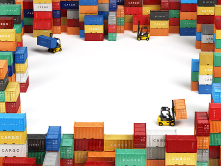 Photo pour Cargo shipping containers in storage area with forklifts and space for text. Delivery transportation concept. 3d - image libre de droit