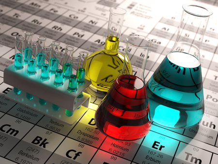 Photo pour Laboratory test tubes and flasks with colored liquids on the periodic table of elements. Science chemistry concept.  3d - image libre de droit