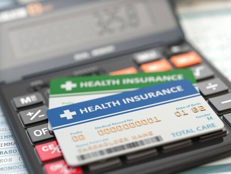 Photo pour Medical insurance cards on the calculator. Health care costs concept. 3d illustration - image libre de droit