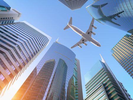 Foto de Airplane flying over skyscrapers n city downtown district. - Imagen libre de derechos
