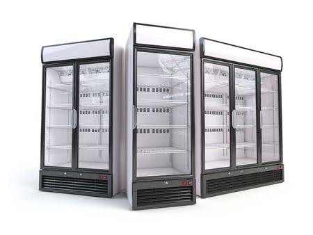 Foto de Set of  different empty showcase refrigerators. - Imagen libre de derechos