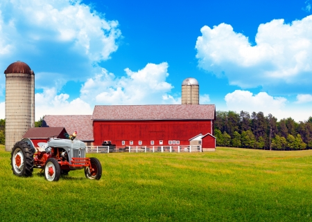 Photo for American Traditional Country Farm with Blue Cloudy Sky - Royalty Free Image
