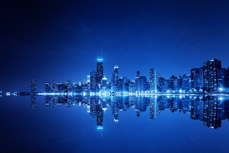 Foto de financial district (night view Chicago)  - Imagen libre de derechos