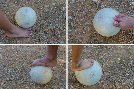 lose up of football player tread on the ball