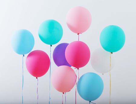 Photo for balloons on white wooden background - Royalty Free Image