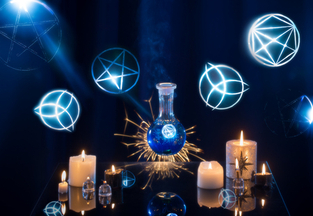 Foto de magic potions on a blue background - Imagen libre de derechos