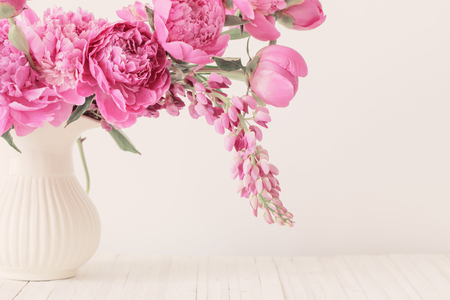 Photo for pink peony in  vase on white background - Royalty Free Image