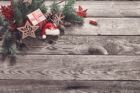 Foto de Christmas composition on old wooden background - Imagen libre de derechos
