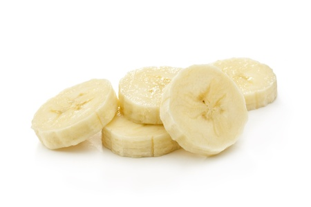 Photo pour Banana slices isolated on a white - image libre de droit