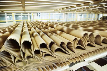 Foto de Closeup image of pleat cardboard row at factory background. - Imagen libre de derechos