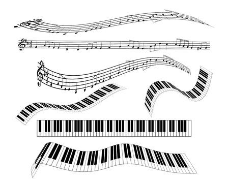 Illustrazione per are different keyboard piano staff notation treble clef notes - Immagini Royalty Free