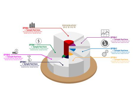 Ilustración de Business-Infographics Circle Graph with different signs of text and figures - Imagen libre de derechos