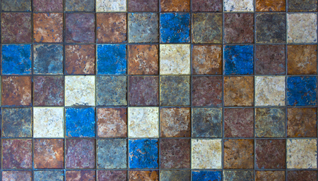 Photo for Mosaic of natural stone, travertine marble, sandstone and granite. - Royalty Free Image