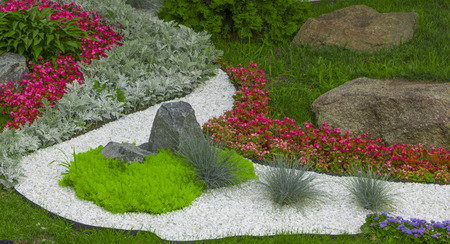 Photo for The use of marble chips and boulders in the creation of the Japanese garden of stones . - Royalty Free Image