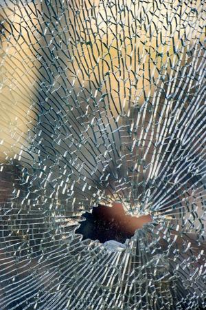 Foto de broken tempered glass closeup , background of glass was smashed - Imagen libre de derechos