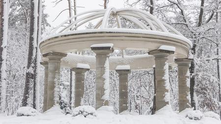 Foto de Beautiful colonnade in a snowy park, Bucha Ukraine - Imagen libre de derechos