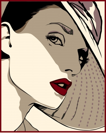 Illustration pour beautiful girl in a hat with red lips is looking at us - image libre de droit