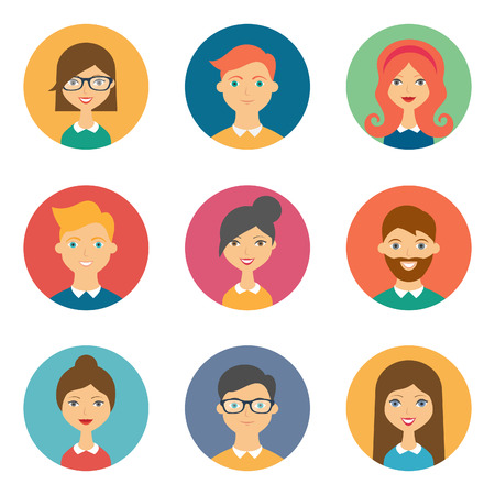 Illustration pour Set of avatars. Vector illustration, flat icons. Characters for web - image libre de droit