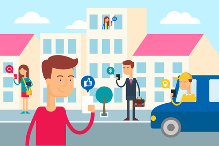 Illustration pour Social network concept - people in the city are using their smartphones. Flat style vector illustration for web - image libre de droit
