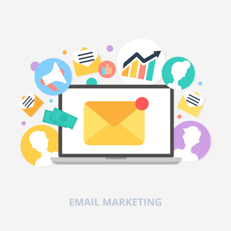 Ilustración de Email marketing concept vector illustration, flat style - Imagen libre de derechos