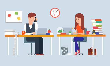 Ilustración de Illustration of two employees working in the office - Imagen libre de derechos
