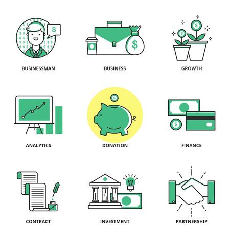 Ilustración de Banking and finance vector icons set: businessman, business, growth, analytics, donation, finance, contract, investment, partnership. Modern line style - Imagen libre de derechos