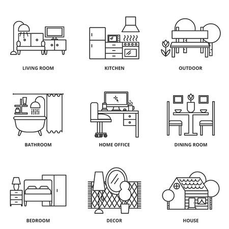 Illustration pour Furniture vector icons set modern line style - image libre de droit