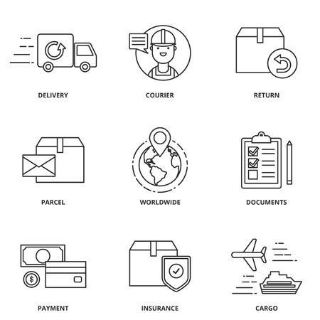 Illustrazione per Logistics and delivery vector icons set modern line style - Immagini Royalty Free