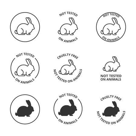 Ilustración de Not tested on animals, cruelty free icons - Imagen libre de derechos