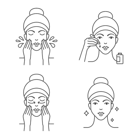 Illustration pour Skin care apply facial serum icons - image libre de droit