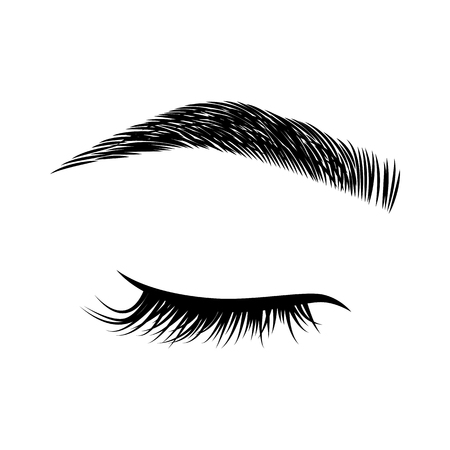 Illustration pour Eyelashes and eyebrows vector logo - image libre de droit