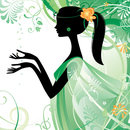 Vector girl's silhouette in green