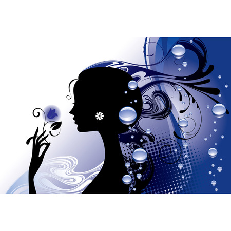 Vector girl's silhouette in blue