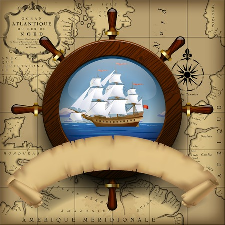 Illustration pour Steering wheel, sailing boat in the sea and parchment ribbon on old chart background.  Navigation travel template. Vector Illustration - image libre de droit